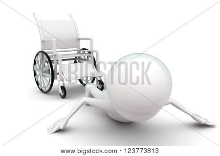 3D Man Fall From Wheel Chair Concept