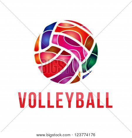 Vector volleyball logo. Vector volleyball championship logo with ball.