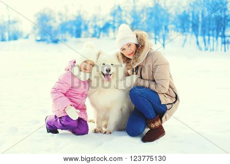 Mother And Child Hugging White Samoyed Dog In Winter Day