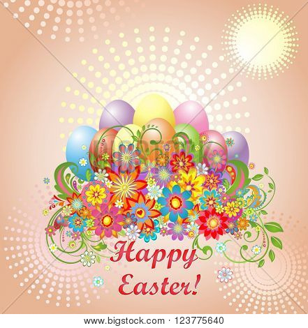 Easter greeting with colorful eggs and flowers