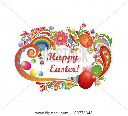 Easter greeting with abstract frame and colorful eggs