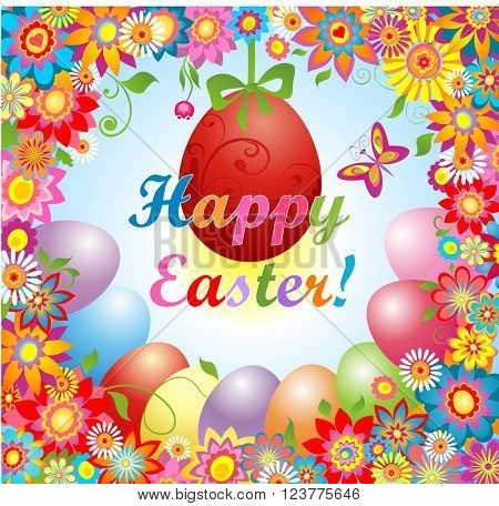 Easter greeting with flowers and hanging egg