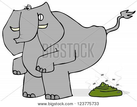 Illustration of an elephant bending over and straining to defecate.