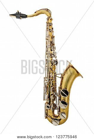 Golden Tenor Saxophone isolated on white background. Golden Tenor Sax with silver keys or buttons. Mouthpiece with reed.