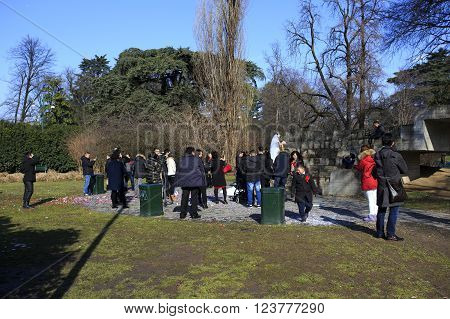 MILAN ITALY - FEBRUARY 8: wedding of Chinese people at Parco Sempione in Milan on February 8 2015