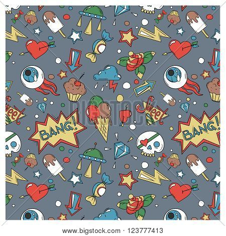 doodle random objects vector seamless colored pattern