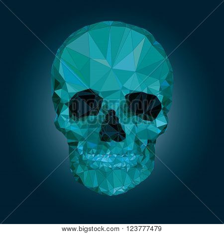 Skull low poly vector crystal illustration 3d