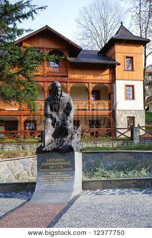 Statue of the greatest Polish writer - Henryk Sienkiewicz in Szczawnica, Poland