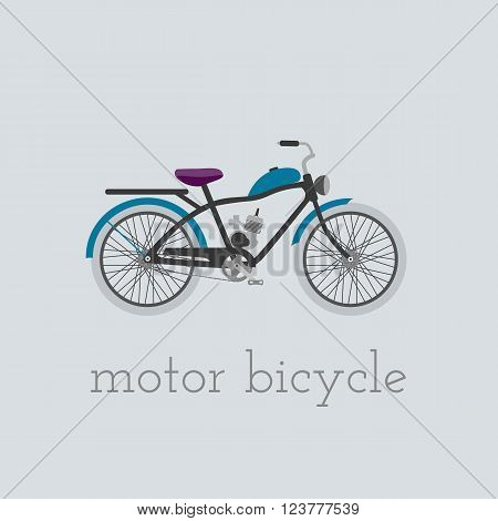 Vector motor bicycle illustration. motor bicycle isolated on white background. Bike vector. motor bicycle moto bike illustration. Bike isolated vector