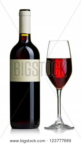 Red wine bottle and wineglass still life isolated