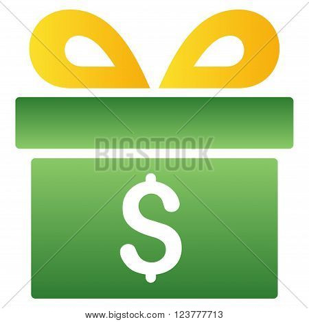 Money Gift Box vector toolbar icon for software design. Style is a gradient icon symbol on a white background.