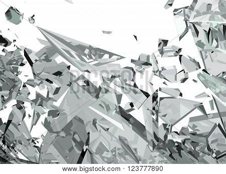 Demolished Glass With Sharp Pieces On White