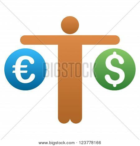 Trader Compare Dollar and Euro vector toolbar icon for software design. Style is a gradient icon symbol on a white background.