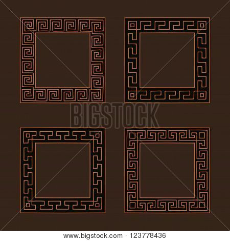 Vector set of four square meander frames. Greek hand drawn border for banner, card, invitation, postcard, label, poster, emblem and other design elements. Vector isolated illustration