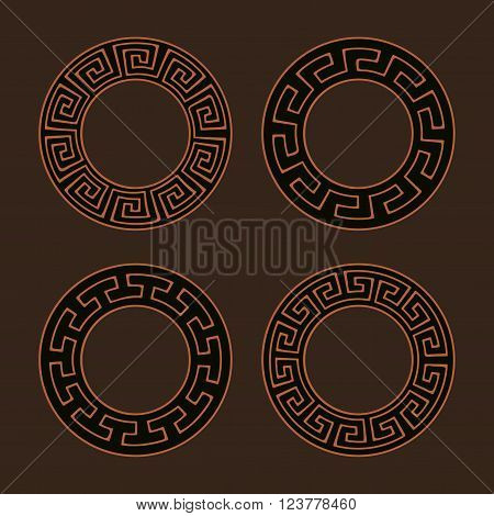 Vector set of four round meander frames. Greek hand drawn border for banner, card, invitation, postcard, label, poster, emblem and other design elements. Vector isolated illustration.