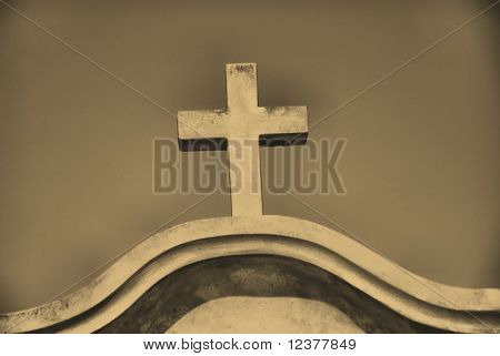 old style photo of ancient cross
