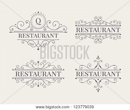 Luxury label line art template set. Elegant calligraphic ornament pattern. Retro style vector illustration for your restaurant, boutique, hotel, heraldic, jewelry, fashion, business signs.