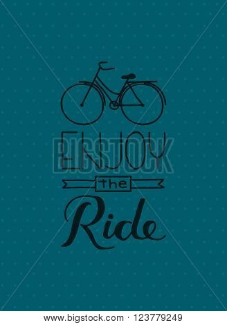 a bicycle and hand lettering of quote enjoy the ride on polkadots background