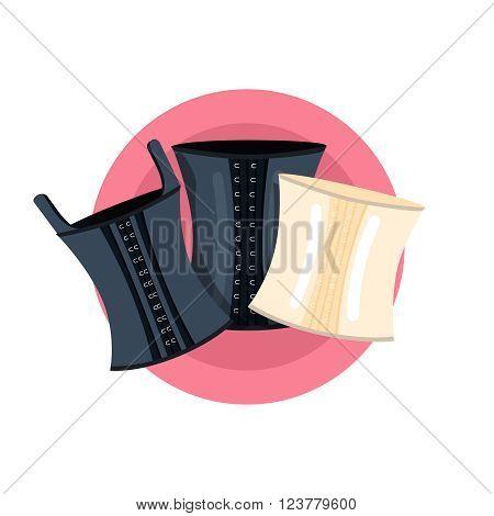 Elegant retro corsets collection vector illustration. Black leather corset and white corset
