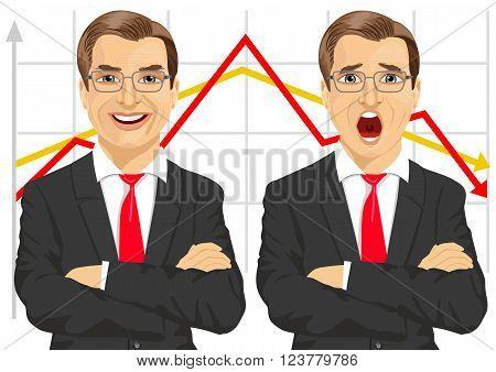 illustration of businessmen with arms folded showing different facial expressions in front of line graphs