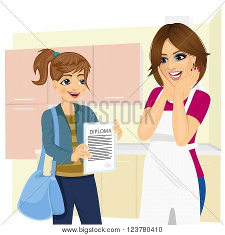 cute daughter showing school diploma to happy mother standing in kitchen