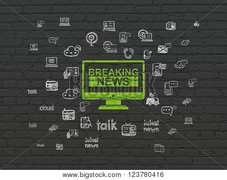 News concept: Breaking News On Screen on wall background