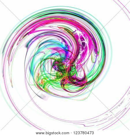 Abstract fullcolor spiral with a complex  structure on white background. Fractal art graphic