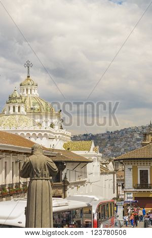 Quito Metropolitan Cathedral From San Francisco Church Viewpoint