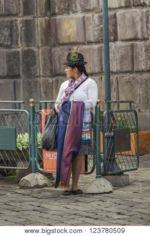 Ecuadorian Traditonal Costumed Woman