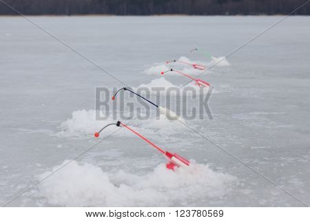 winter fishing rods over the holes on the ice of the pond