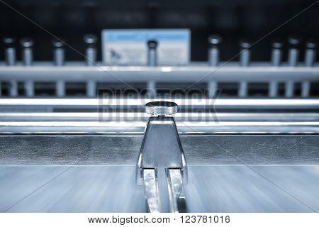 Blurred conveyor belt of the printing press