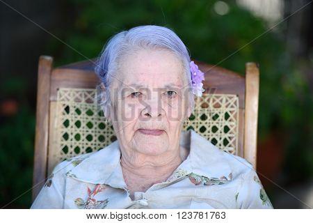 Portrait Of Suspicious Grandma