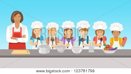Kids cooking class flat illustration. Group of happy fun children boys and girls in chef hats and aprons with kitchen equipment cook food with an adult. Culinary education party with woman teacher