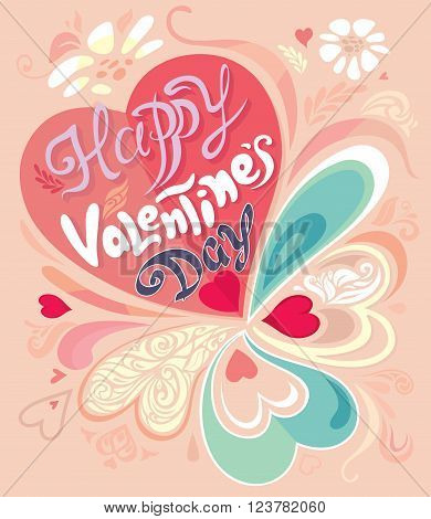 Retro Vintage calligraphic vector decorative colorful Valentine's Day card