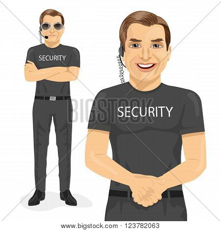 professional security guard with two different poses isolated on white background