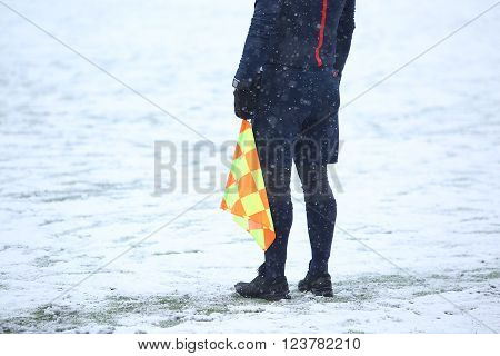 Assistant Of Referee With Flag