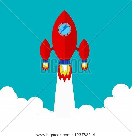 Spaceship. Flying a spaceship in outer space. spacecraft launch. Red spaceship takes off.Space Exploration.