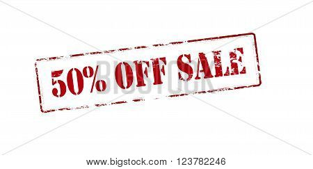Rubber stamp with text fifty percent off sale inside vector illustration