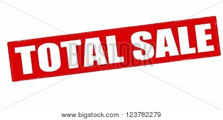 Rubber stamp with text total sale inside vector illustration