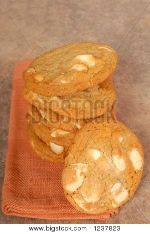 Stack Of White Chocolate With Macadamia Nut Cookies