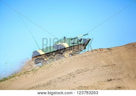 Omsk, Russia - July 07, 2011: International exhibition of high-tech equipment and weapons, tank on maneuvers