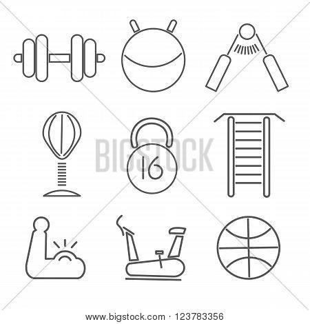 Fitness Icons Fitness Icons. Fitnes set of icons. Nine gray icons on white background.