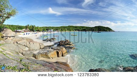Panorama of Long Beach on the Small Perhentian Island (Perhentian Kecil) in Malaysia.