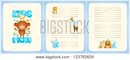 Kids menu card design with front page and pages for dishes, with funny cute cartoon animals