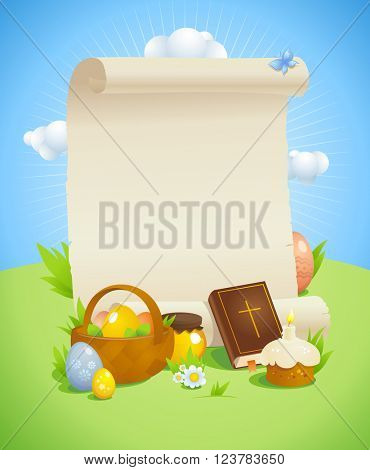 Easter design with empty paper roll against spring  landscape with bible, basket and colored eggs, pastry, honey and flowers