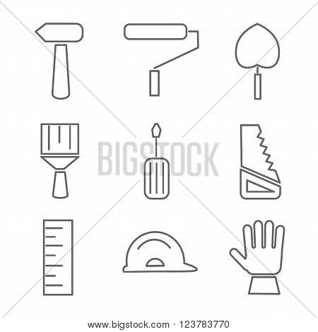 Set of house renovation icons. Tools equipment and furniture. Flat style with long shadow.