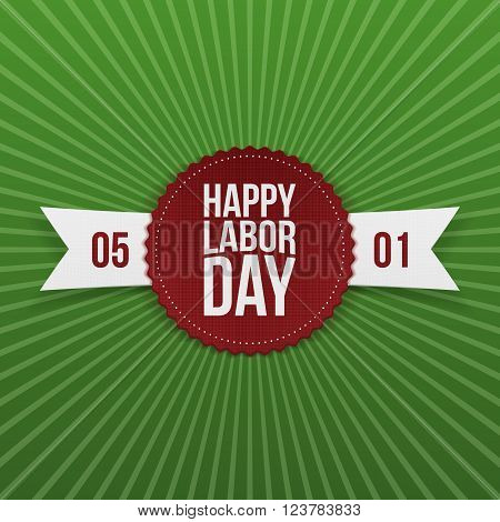 International Labor Day realistic festive Banner with Ribbon. Vector Illustration