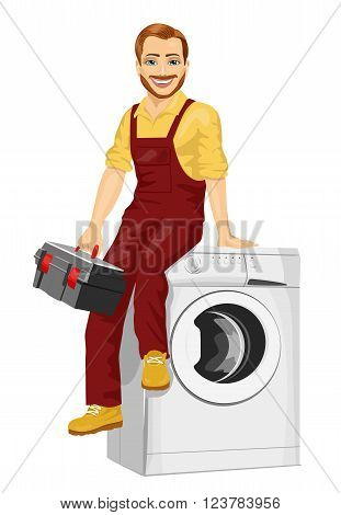 repairman holding a toolbox sitting on a washing machine isolated on white background