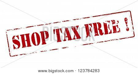 Rubber stamp with text shop tax free inside vector illustration