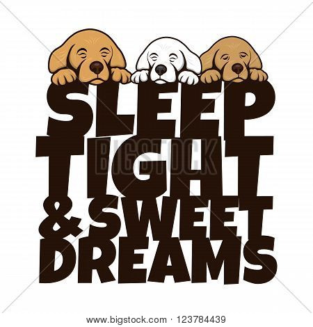 cute little puppy sleep theme vector art illustration